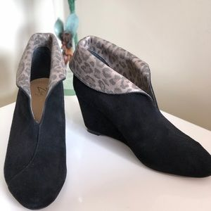 Zizi Black Suede Pull On Wedge Ankle Boots